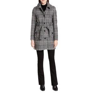 Calvin Klein Gray Plaid Wool Coat